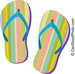Summer sandals - Summer retro flip flops in Vector