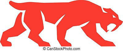 Saber Tooth Tiger Cat Silhouette Retro - Illustration of a...