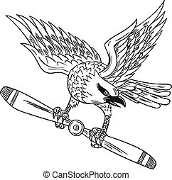 Shrike Clutching Propeller Blade Black and White Drawing -...