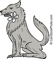 Timber Wolf Sitting Plumeria Flower Drawing - Drawing sketch...