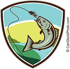 Trout Biting Hook Lure Shield Retro - Illustration of trout...