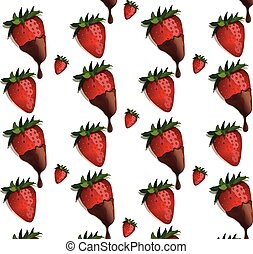strawberries in chocolate pattern