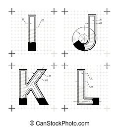 Architectural sketches of I J K L letters. Blueprint style...
