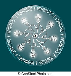 Abstract transparent circle with the words informatics;...