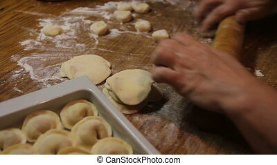 cook dumplings - roll out the dough for ravioli cakes