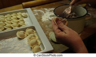 preparing Russian pelmeni - put the minced meat in a...