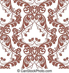 Baroque pattern with Damask ornament - Vector Baroque...