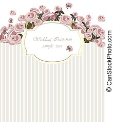 Vintage Invitation Card with Watercolor Flowers Background....