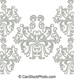 Vector Floral ornament damask pattern - Vintage Vector...