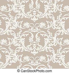 Floral ornament damask pattern - Vintage Floral ornament...