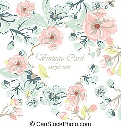 Watercolor Spring Flowers Background - Vintage Watercolor...