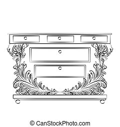 Royal Baroque Vector Classic Commode table furniture with...
