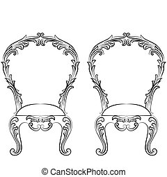 Fabulous Rich Rococo Chairs set. French Luxury rich carved...