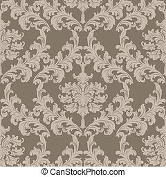 Baroque Vintage floral damask pattern - Vector Baroque...