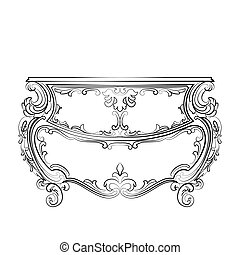 Baroque Classic commode table furniture - Baroque Vector...