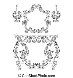 Glamorous Fabulous Baroque Rococo Console Table and Mirror...