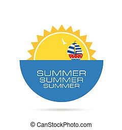 summer icon with boat color illustration