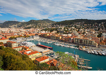 Aerial View on Port of Nice and Luxury Yachts - Nice, France...
