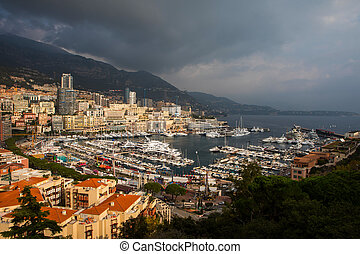 Luxury yachts in the bay of Monaco on the Cote D'Azur -...