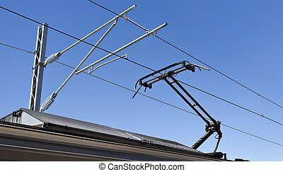 Pantograph and Catenary Wire - An asymmetrical pantograph...