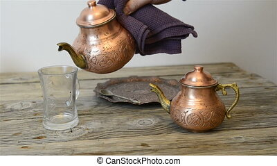 Traditional Turkish tea - Turkish tea and traditional copper...