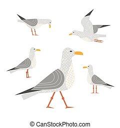 Sea gull icon - Seagull icon set. Freehand cartoon cute...