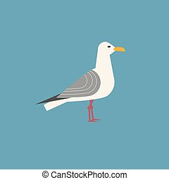 Sea gull icon. Freehand cartoon style. Seagull bird logo....