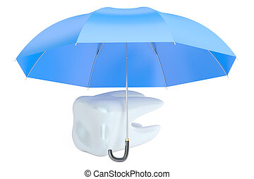 teeth protection concept with umbrella, 3D rendering