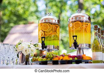 fruity lemonade, fruit refreshing drink, orange juice,...