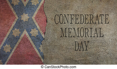Confederate Memorial Day. Flag and Cracked Concrete