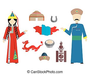 mongol flat design - set in the style of a flat design on...