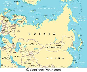 Eurasia political map with capitals and national borders....