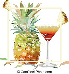 Watercolor Pineapple and Cosmopolitan Cocktail Glass...