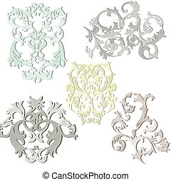Damask pattern elements set - Vector damask pattern elements...