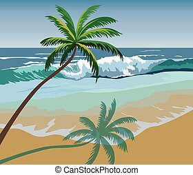 Summer seaside shore with palm trees