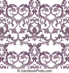 Vector damask pattern ornament. Exquisite Baroque element...
