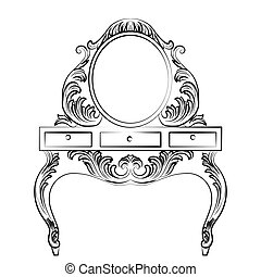 Baroque furniture Dressing Table and Round mirror frame -...