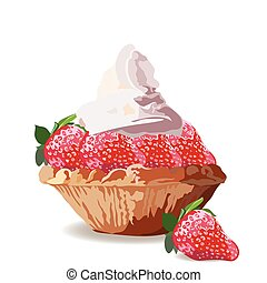 Tart cake with strawberry and cream. Vector Delicious...