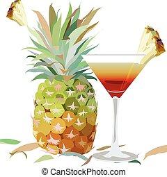 Watercolor Pineapple and Cosmopolitan glass - Watercolor...