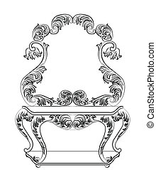 Baroque furniture Dressing Table and mirror frame. French...