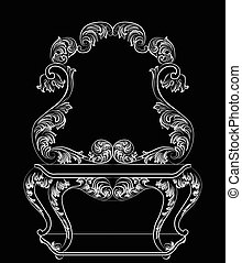 Vector Baroque furniture Dressing Table and mirror frame....