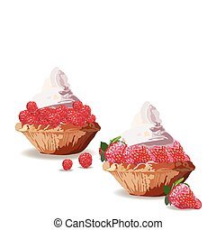 Tart cakes with strawberry and raspberry. Vector Delicious...