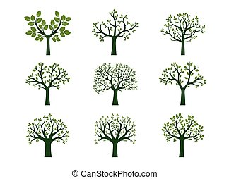Collection of Green Trees. Vector Illustration.