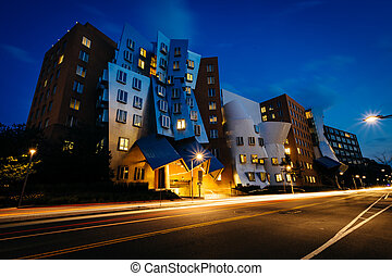 The Ray and Maria Stata Center at night, at the...