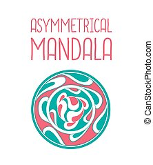 Asymmetrical pink and blue mandala design with drops in a...