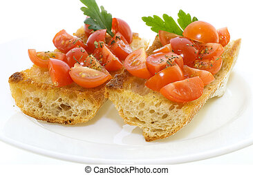 Two bruschetta with tomatoes