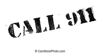 Call 911 rubber stamp. Grunge design with dust scratches....