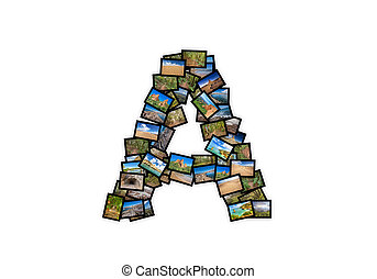 Letter A uppercase font shape alphabet collage made of my...
