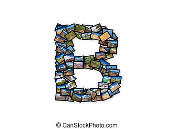 Letter B uppercase font shape alphabet collage made of my...