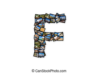 Letter F uppercase font shape alphabet collage made of my...